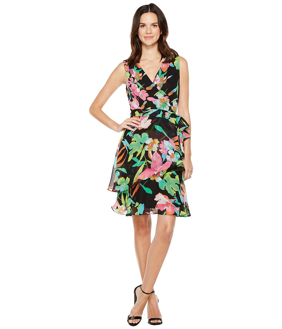 Tahari by ASL Tahari by ASL - Floral Chiffon Faux-Wrap Dress