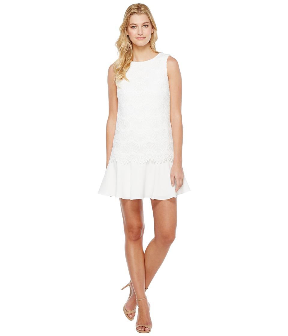 Tahari by ASL Flounced Hem Lace Dress (White) Women