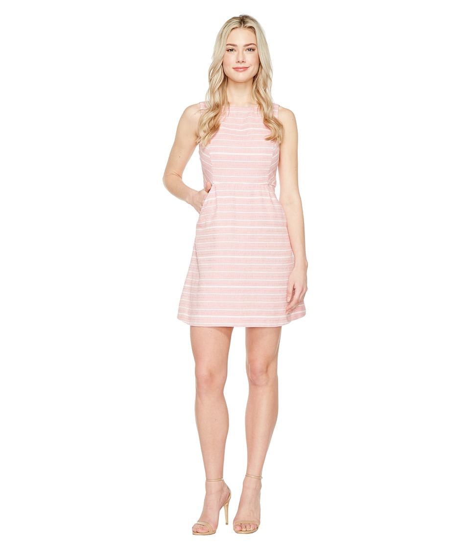 Jessica Simpson Stripped Tweed Fit and Flare Dress (Pink) Women