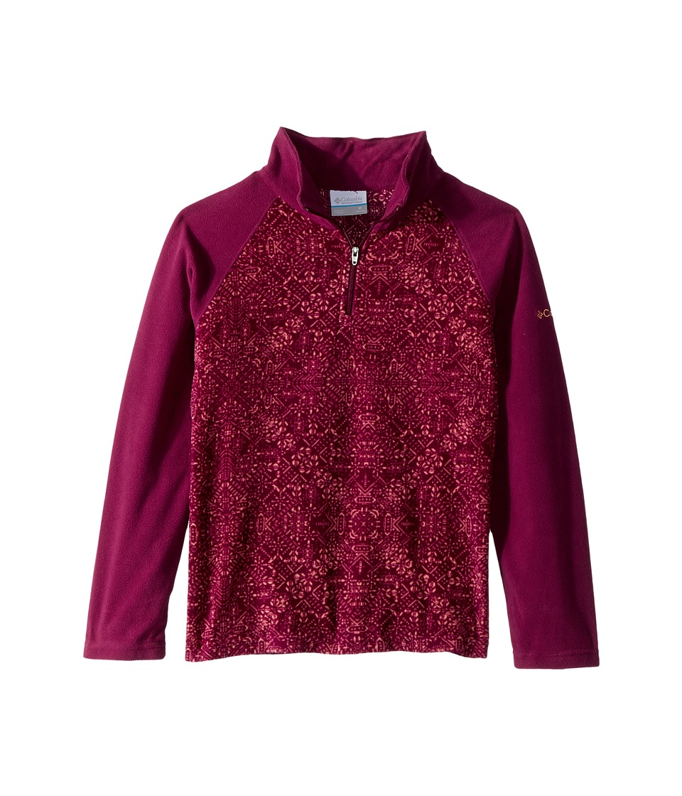 Columbia Kids - Glacialtm II Fleece Print Half Zip (Little Kids/Big Kids) (Dark Raspberry Snowflake Print) Girls Fleece
