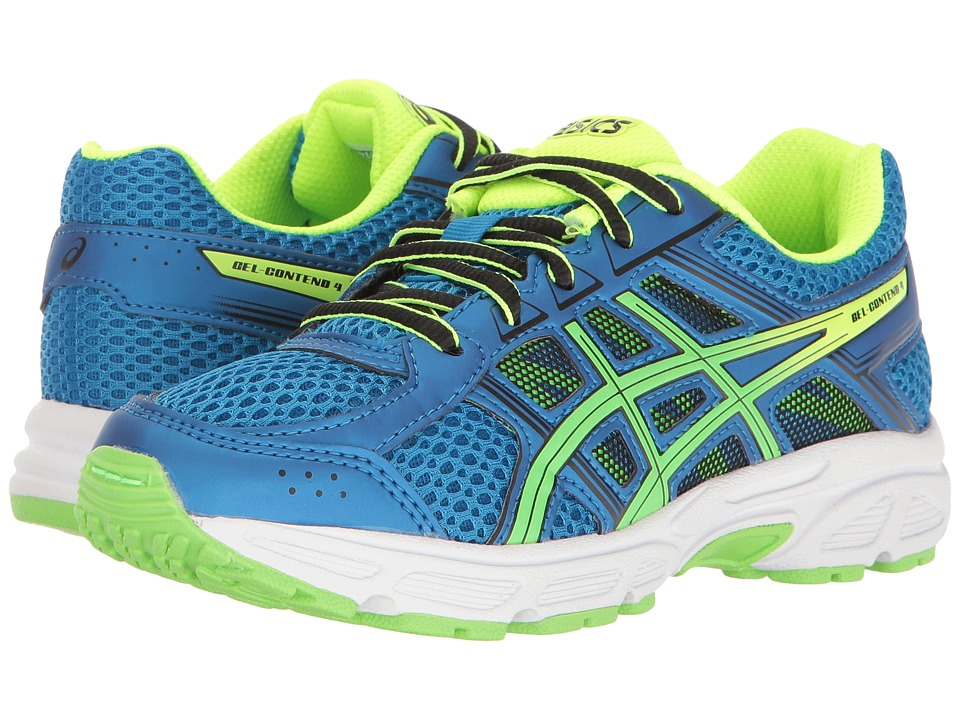 ASICS Kids - GEL-Contend 4 GS (Little Kid/Big Kid) (Directoire Blue/Green/Safety Yellow) Boys Shoes