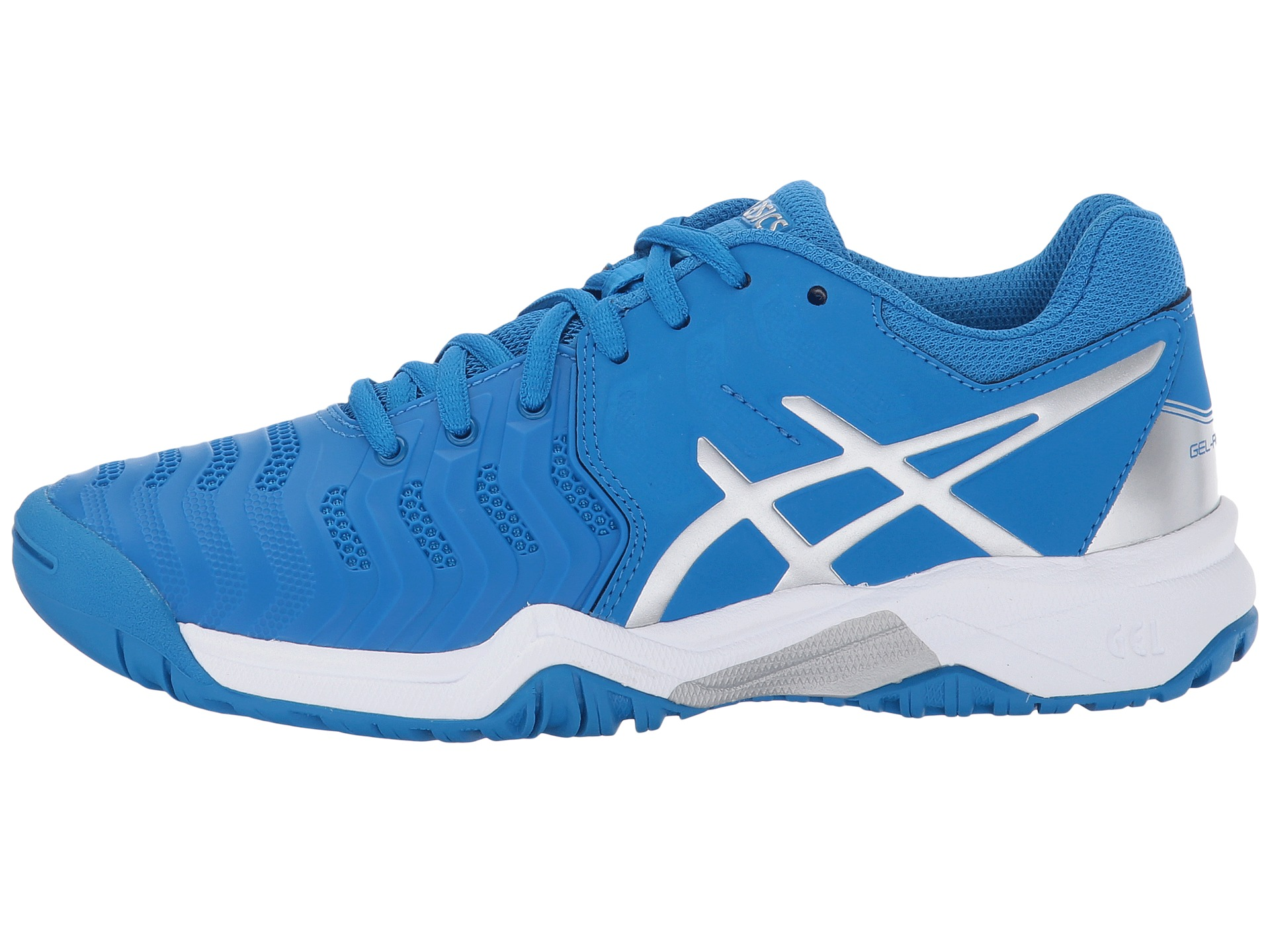 Asics Gel Resolution  Gs Blue Silver Junior Shoes