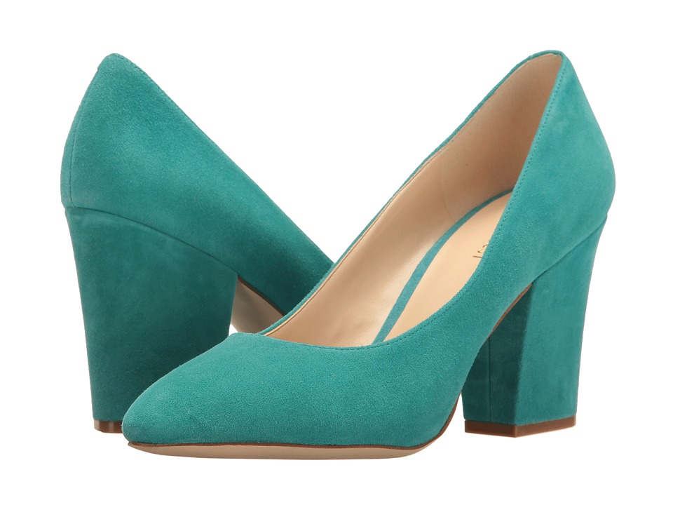 Nine West - Scheila Block Heel Pump (Dark Turquoise Suede) High Heels