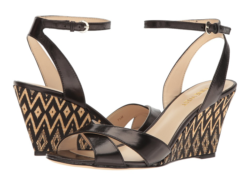 Nine West - Kami Wedge Sandal (Black 2 Leather) Womens Shoes