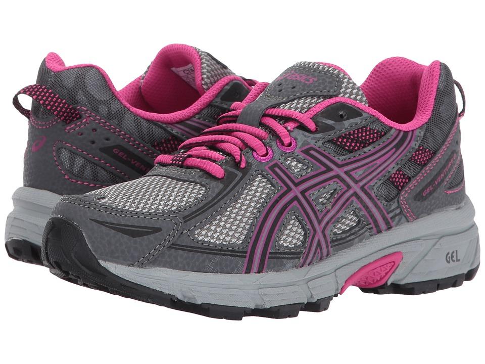 ASICS Kids GEL-Venture 6 GS (Little Kid/Big Kid) (Carbon/Black/Sport Pink) Girls Shoes