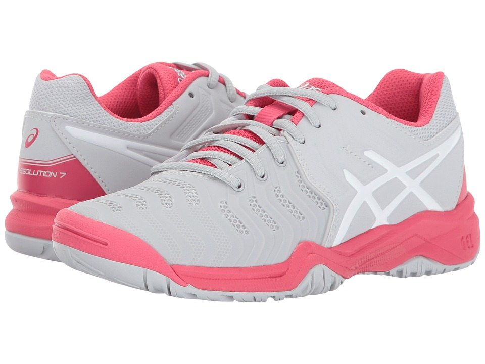 ASICS Kids - GEL-Resolution(r) 7 GS Tennis (Little Kid/Big Kid) (Glacier Grey/White/Rouge Red) Girls Shoes
