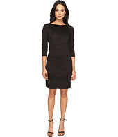 Tahari by ASL - Tiered Flocked Velvet Dot Sheath Dress