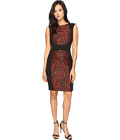 Tahari by ASL - Cheetah Jacquard Paneled Sheath Dress