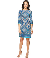 London Times - Burmese Tile Long Sleeve Shift