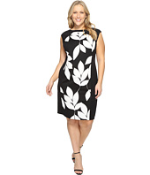 London Times - Plus Size Box Jacquard Cap Sleeve Sheath