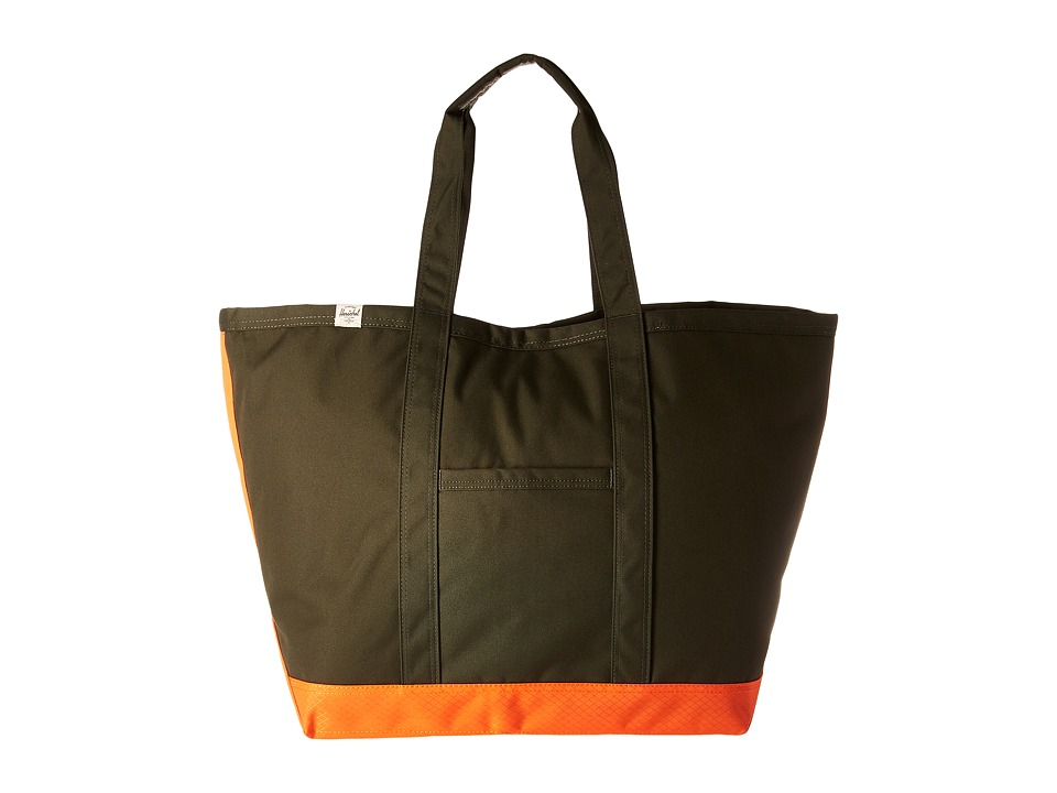 Herschel Supply Co. - Bamfield (Forest Night/Vermillion Orange) Tote Handbags
