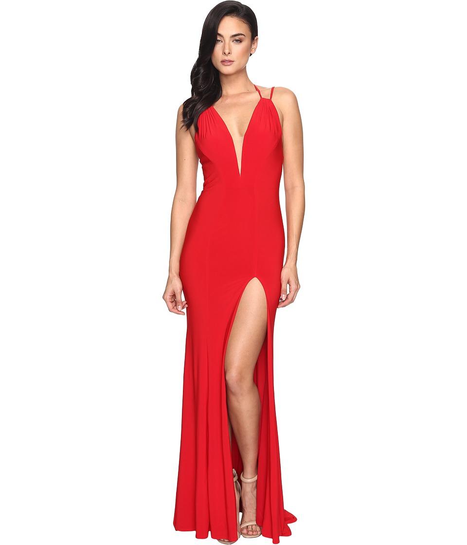 Faviana Jersey V-Neck/Adjust Back Slit Skirt 7920 (Red) W...