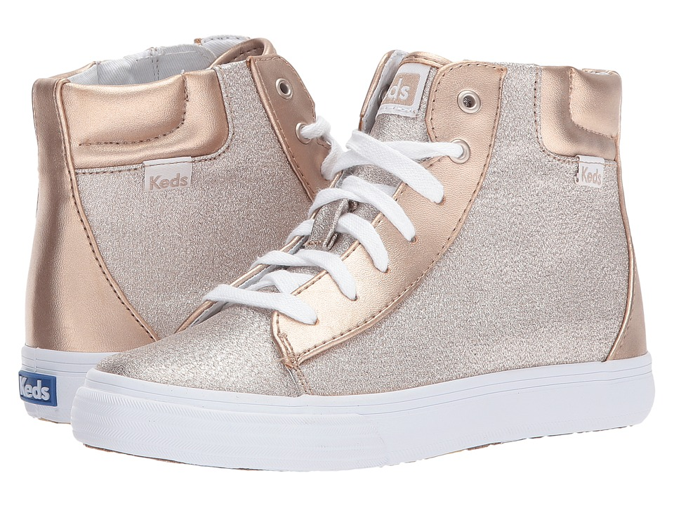 Keds Kids Double Up High Top (Little Kid/Big Kid) (Rose Gold) Girl's Shoes