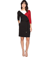 Ellen Tracy - Tricolor Ponte Dress with Self Belt and Sleeves