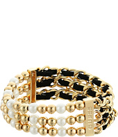 GUESS - Three Row 1/2 Bead Stretch and 1/2 Woven Chain Stretch Bracelet