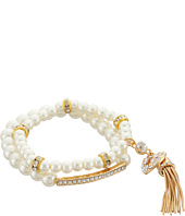 GUESS - Pearl Stretch with Pave Bar and Pearl Stretch with Tassle Duo Set Bracelet