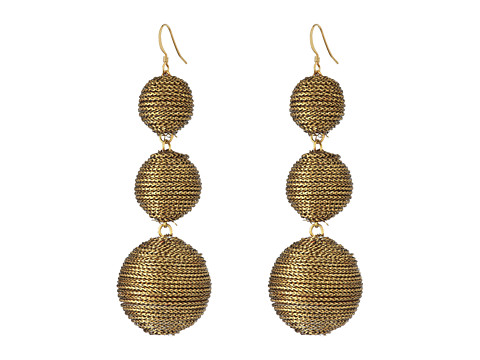 Kenneth Jay Lane 3 Gold Thread Small to Large Wrapped Ball Post Fish Hook Ear Earrings - Gold