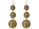Kenneth Jay Lane - 3 Gold Thread Small to Large Wrapped Ball Post Fish Hook Ear Earrings