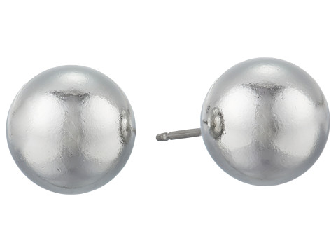 Kenneth Jay Lane 10mm Polished Rhodium Ball Post Ear Earrings - Silver