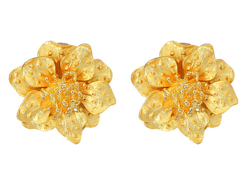 Kenneth Jay Lane Satin Gold Flower Clip Ear Earrings - Gold