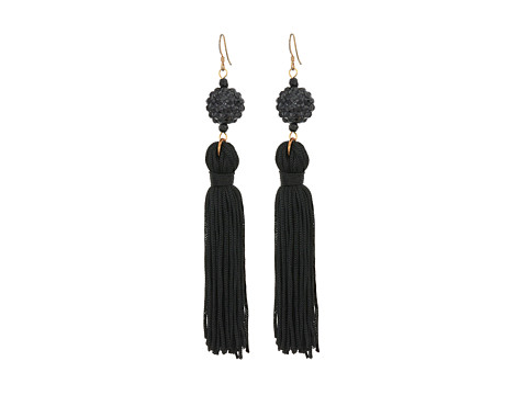 Kenneth Jay Lane Jet Ball with Black Tassel Fish Hook Earrings - Black