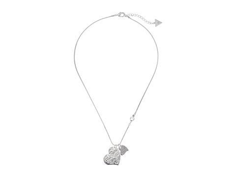 GUESS Double Heart Charm on Snake Chain Pendant Necklace