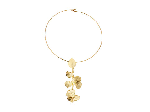 Kenneth Jay Lane Satin Gold Flower Front Wire Necklace - Gold