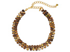 Kenneth Jay Lane 12 Brown Shell Choker with 4 Inch Polished Gold Extender Necklace