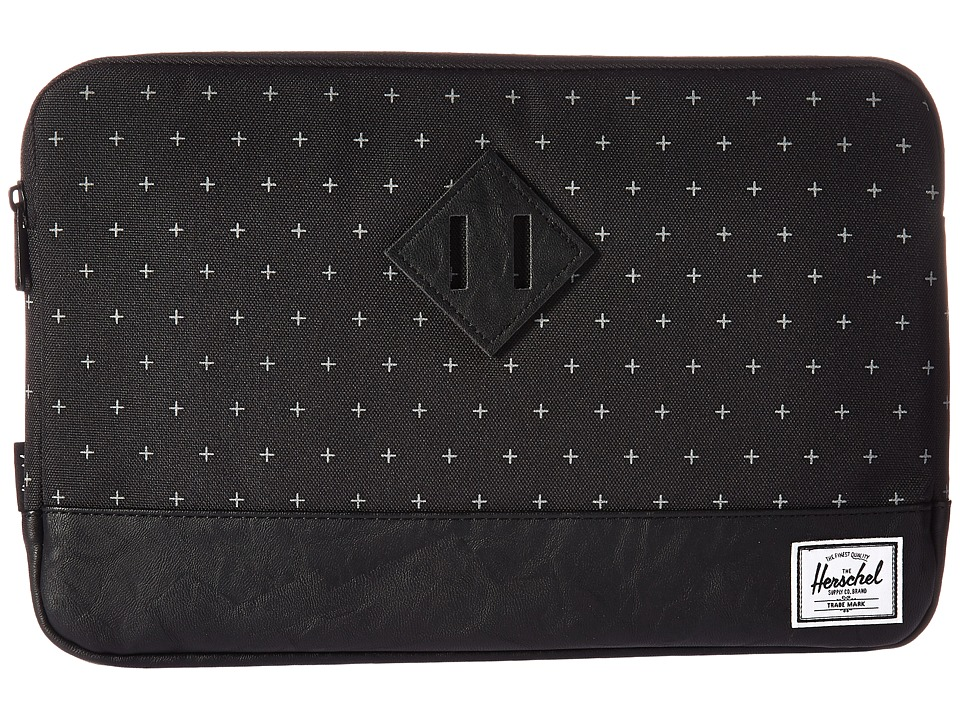 Herschel Supply Co. Heritage Sleeve for 12inch MacBook (Black Gridlock/Black Synthetic Leather) Computer Bags
