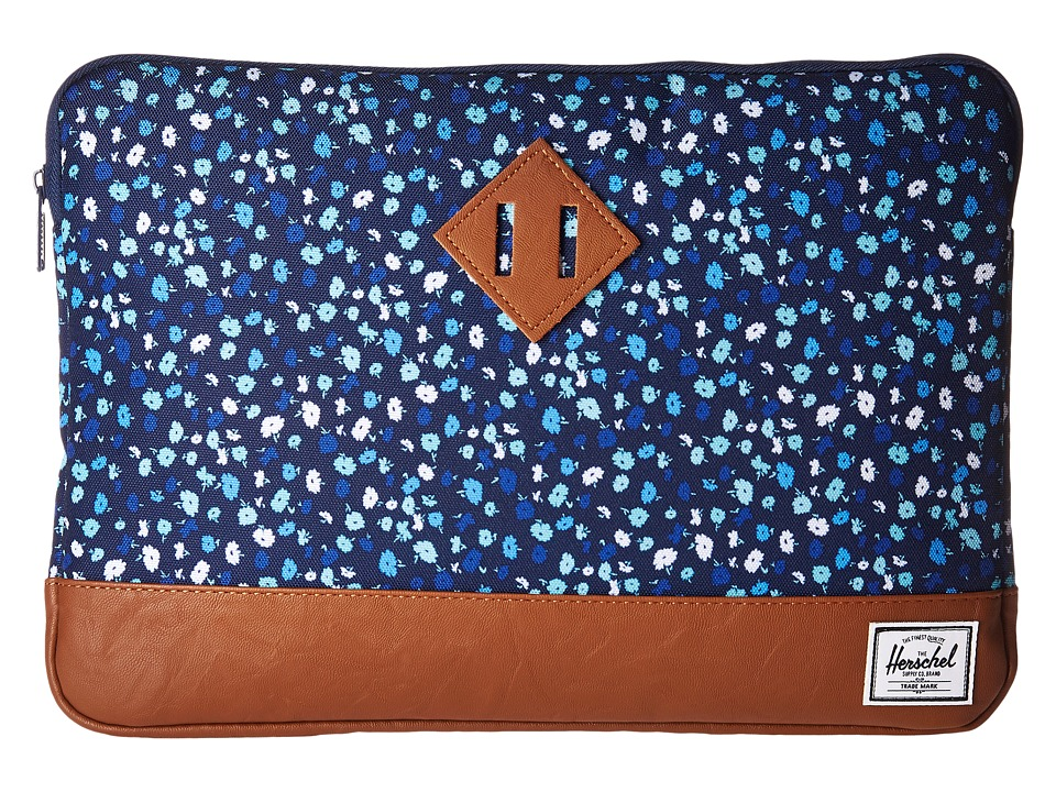 Herschel Supply Co. Heritage Sleeve for 13inch Macbook (Peacoat Mini Floral/Tan Synthetic Leather) Computer Bags