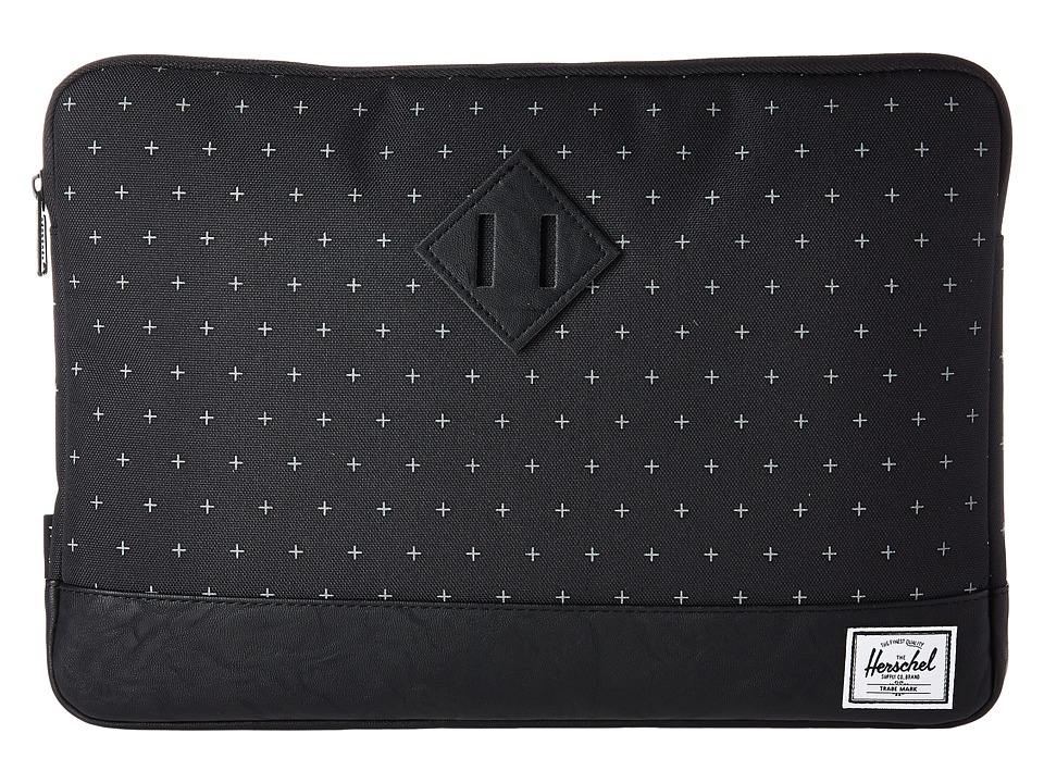 Herschel Supply Co. Heritage Sleeve for 13inch Macbook (Black Gridlock/Black Synthetic Leather) Computer Bags