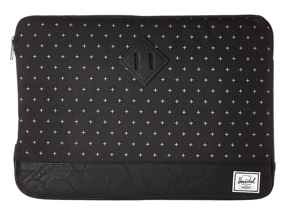 Herschel Supply Co. Heritage Sleeve for 15inch Macbook (Black Gridlock/Black Synthetic Leather) Computer Bags