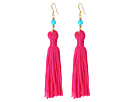 Kenneth Jay Lane Polished Gold/Turquoise Bead with Pink Tassel Fish Hook Ear Earrings