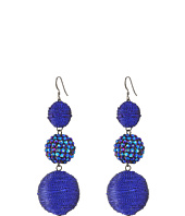 Kenneth Jay Lane - Triple Graduated Blue Ball Fish Hook Ear End Balls Thread Wrap/Center Sparkle Wire Earrings
