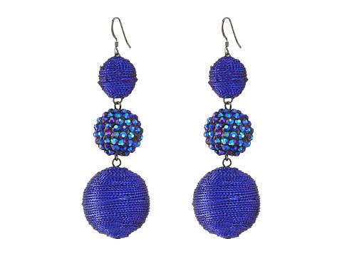 Kenneth Jay Lane Triple Graduated Blue Ball Fish Hook Ear End Balls Thread Wrap/Center Sparkle Wire Earrings - Blue