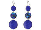 Kenneth Jay Lane Triple Graduated Blue Ball Fish Hook Ear End Balls Thread Wrap/Center Sparkle Wire Earrings