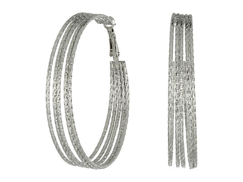 GUESS Multi Wire Textured Clutchless Hoop Earrings - Silver