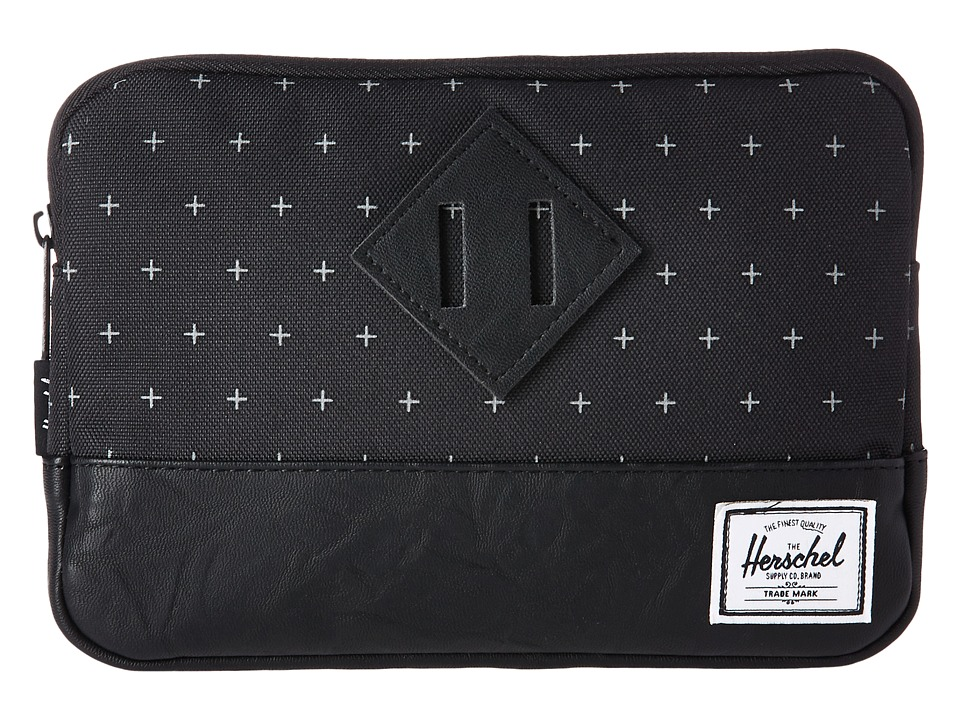 Herschel Supply Co. Heritage Sleeve For iPad Mini (Black Gridlock/Black Synthetic Leather) Computer Bags