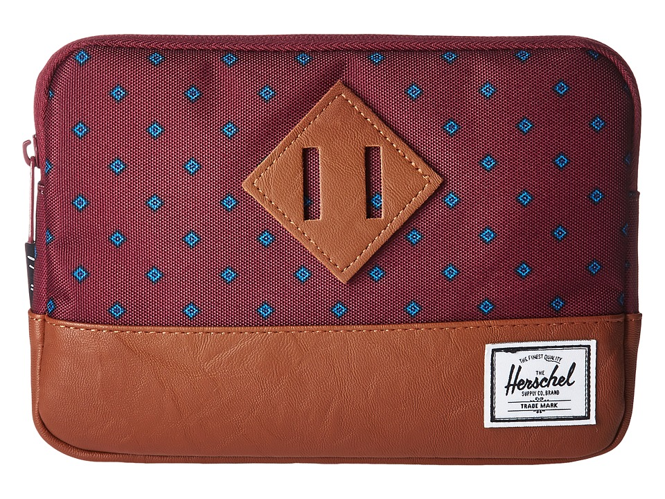 Herschel Supply Co. Heritage Sleeve For iPad Mini (University Windsor Wine/Tan Synthetic Leather) Computer Bags