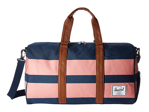 Herschel Supply Co. Novel - Navy/Strawberry Ice Rugby Stripe/Tan Synthetic Leather