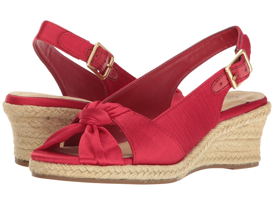 Retro Sandal History: Vintage and New Style Shoes Bella-Vita - Seraphina II Red Silk Womens Shoes $54.95 AT vintagedancer.com
