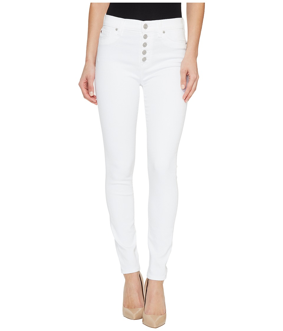 Hudson Ciara High-Rise Ankle Super Skinny Buttonfly Five-Pocket Jeans in White (White) Women