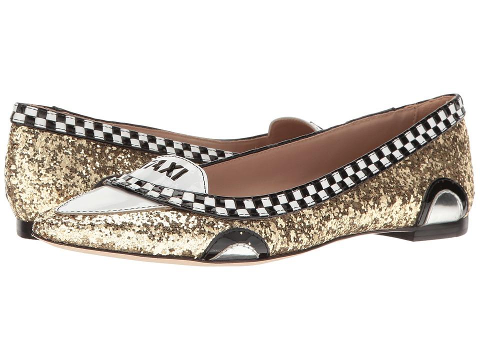 Kate Spade New York Go (Gold Glitter/Black/White Patent) Flats