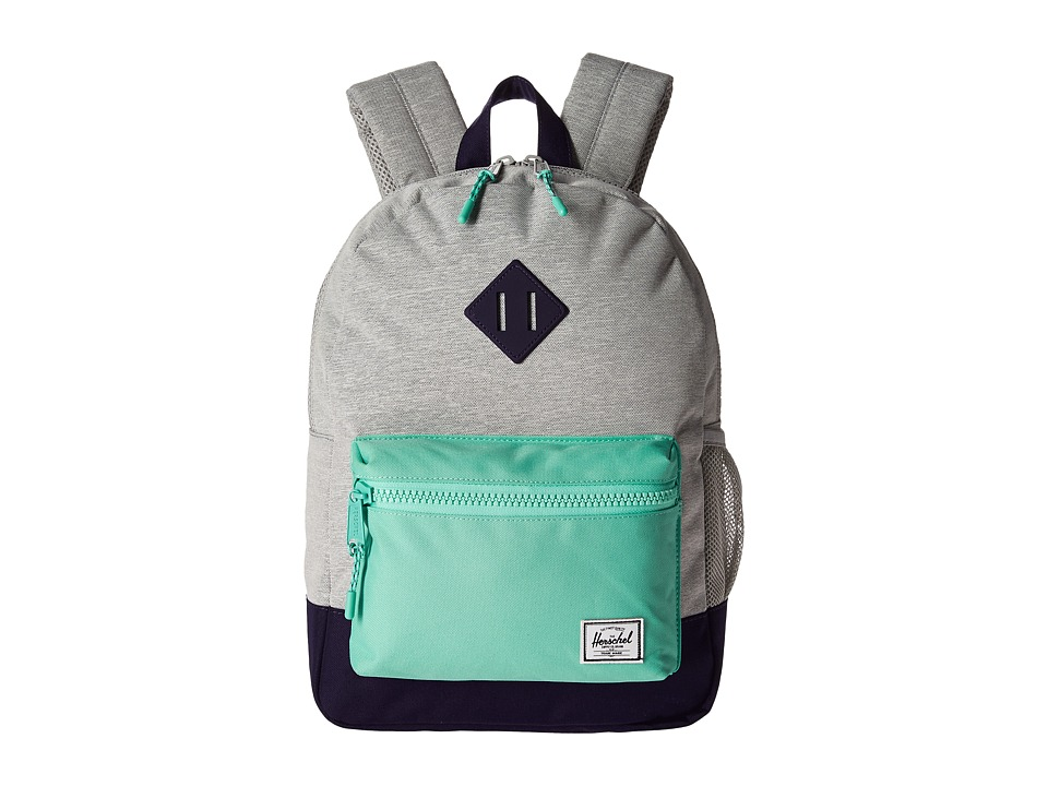 Herschel Supply Co. Heritage Youth (Big Kids) (Light Grey Crosshatch/Lucite Green/Parachute Purple Rubber) Backpack Bags