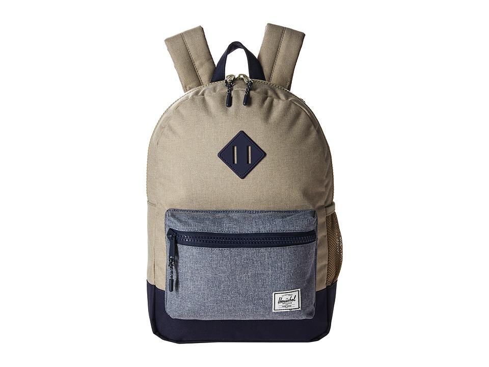 Herschel Supply Co. Heritage Youth (Big Kids) (Light Khaki Crosshatch/Dark Chambray Crosshatch/Peacoat Rubber) Backpack Bags