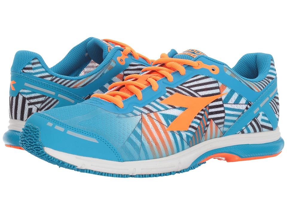 Diadora Mythos Racer Evo 2 (Fluo Cyan Blue/Fluo Orange) Athletic Shoes
