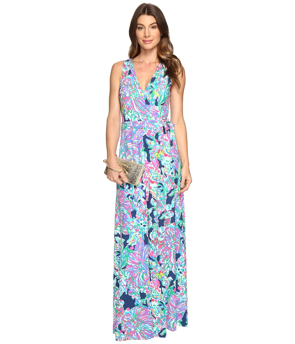 Lilly Pulitzer Delfina Maxi Wrap Dress (Indigo Exotic Escapade) Women