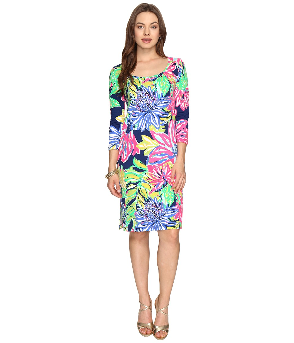 Lilly Pulitzer Kenzie Dress (Resort Navy Travelers Palm Reduced) Women