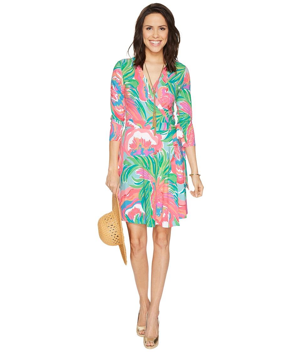 Lilly Pulitzer Emilia Wrap Dress (Serene Blue Paradise Bound) Women