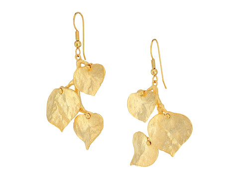 Kenneth Jay Lane Satin Gold 3 Leaf Fish Hook Earrings - Gold